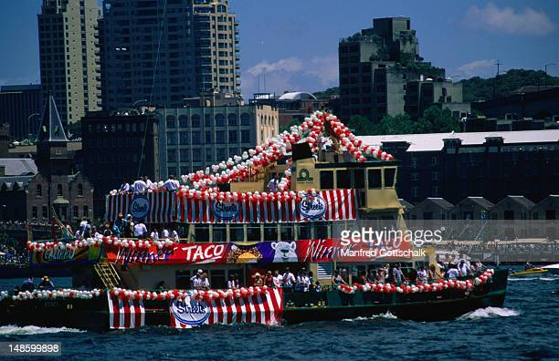 A decorated ferry in the Amatil Ferrython, Australia Day.