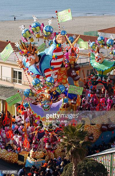 A decorated float made from papier mache is seen on parade during the carnival celebration on February 6 2005 in Viareggio Italy The Viareggio...