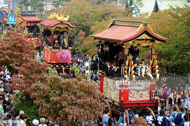 Decorated floats called 'Hikiyama' march on during the 'Honsai' main festival of the Otsu Festival on October 11 2015 in Otsu Shiga Japan According...