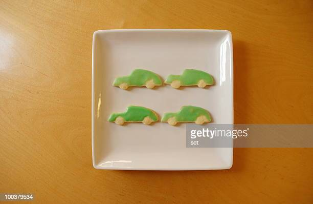Decorated freshly baked cookies on the plate