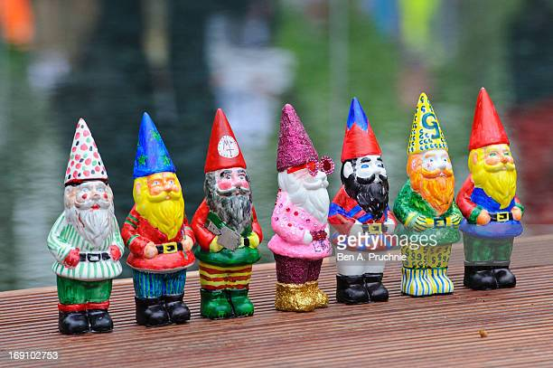 Decorated Gnomes designed by celebrities including Elton John are displayed during the Chelsea Flower Show press and VIP preview day at Royal...