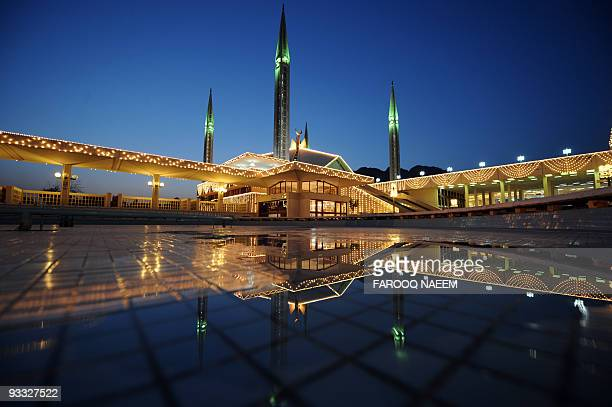 Decorated grand Faisal Mosque illuminates in Islamabad on September 27 2008 during Lailat alQadr on the 27th day of the fasting month of Ramadan...