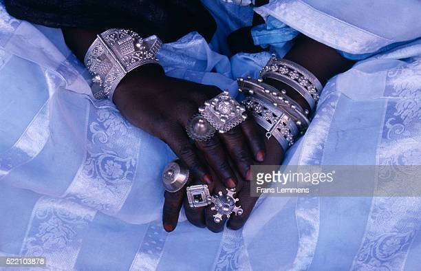 Decorated Hands of Tuareg Woman During Tafsit near Tamanrasset