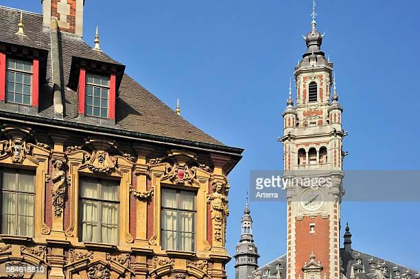 Decorated historical facade and bell tower of Chamber of Commerce at the quarter VieuxLille Lille France