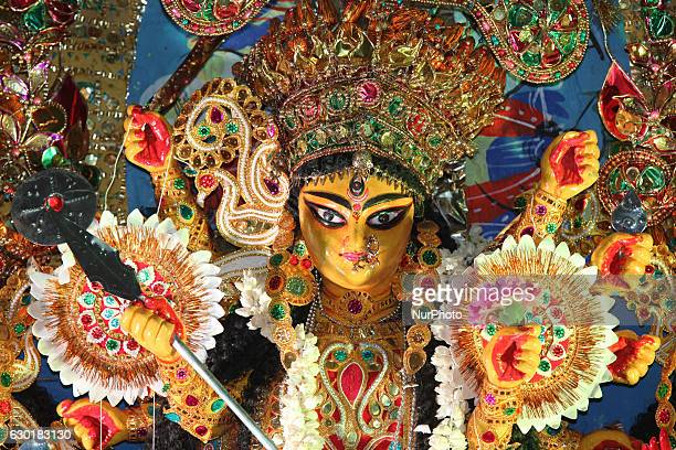 Decorated idol of the Goddess Durga during the Durga Puja Festival at a pandal in Mississauga Ontario Canada on October 15 2016 Hundreds of Bengalis...