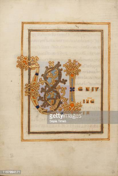 Decorated Initial V. Unknown. Saint Gall. Switzerland. Europe. Late 10th century. Tempera colors. Gold paint. Silver paint. And ink on parchment....