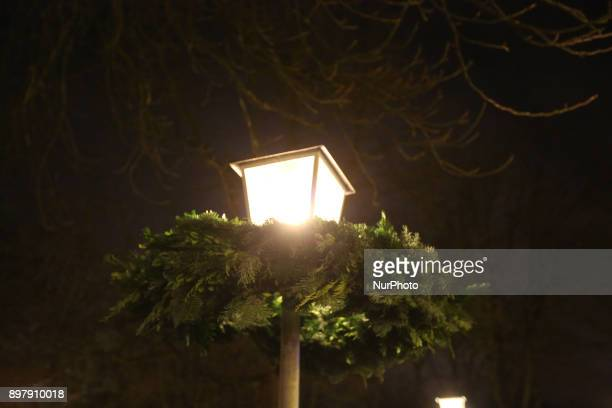 Decorated light of the christmas market Last Day of the Christmas Market at quotChinesischer Turmquot in Munich on December 23 2017