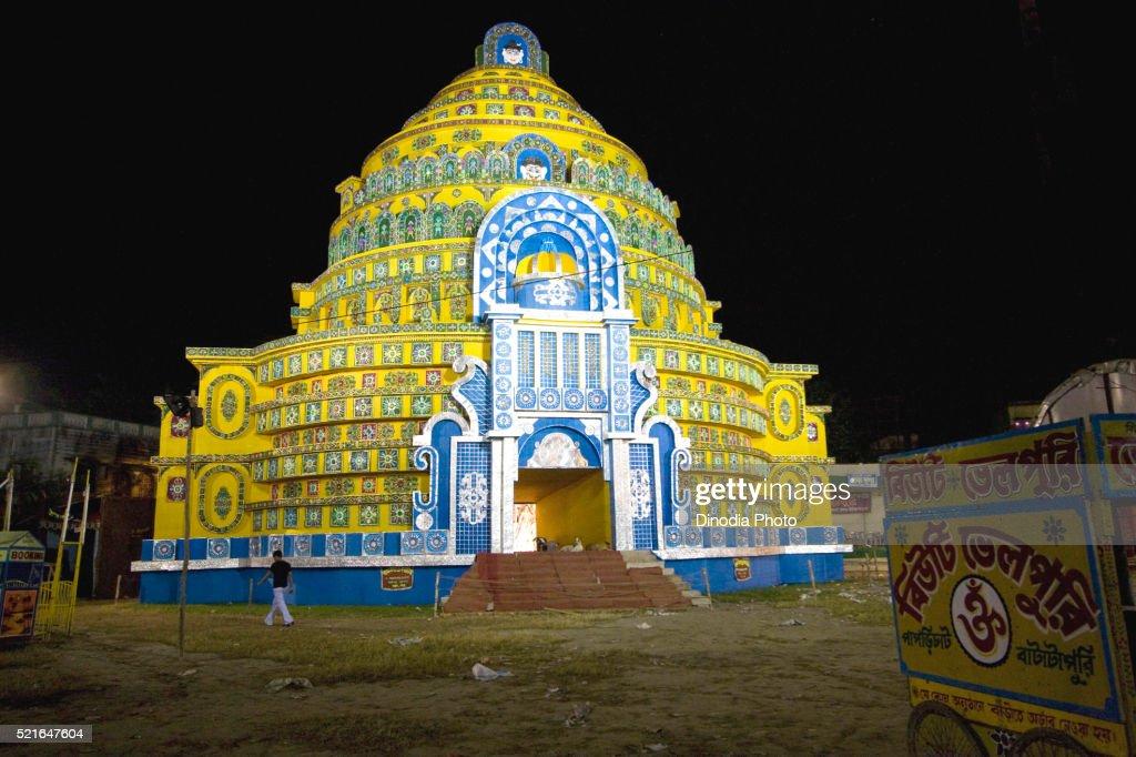 Decorated Mandap For Durga Puja Kolkata West Bengal India Stock
