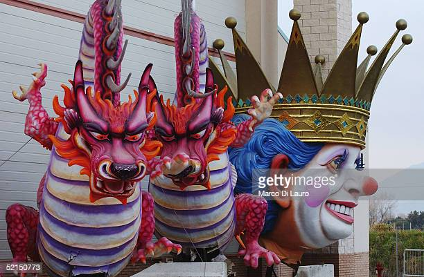 Decorated masks made from papier mache are seen at 'Carnival City' where the floats are built on February 4 2005 outside Viareggio Italy The...