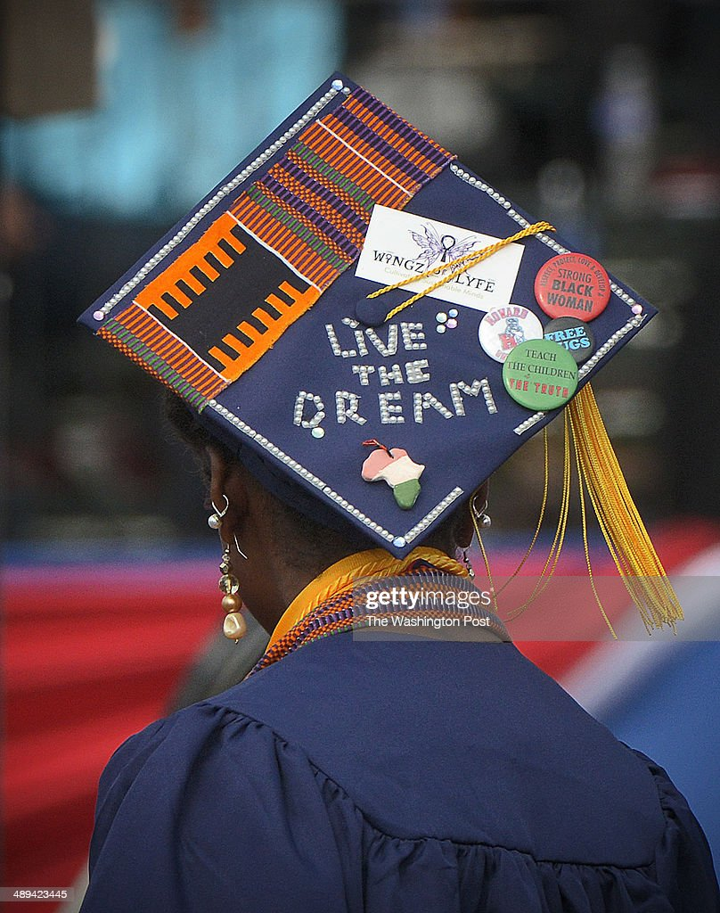 A Decorated Mortar Board During Howard University S Commencement