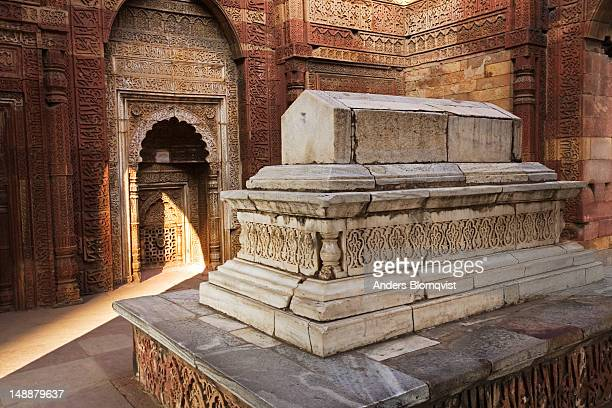 Decorated Muslim tomb of Iltutmish at Qutb Minar complex.