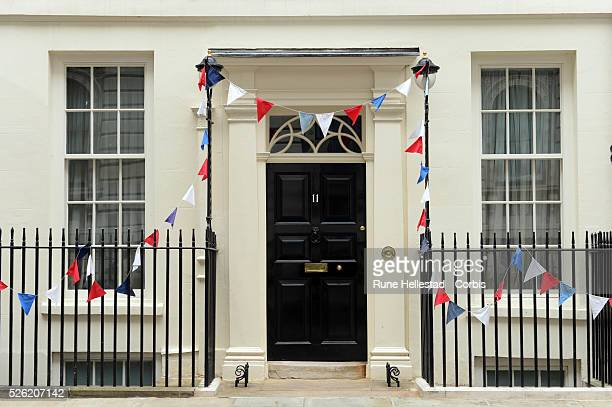 Decorated Number 11 Downing Street as part of of Queen Elizabeth II's Diamond Jubilee Celebration