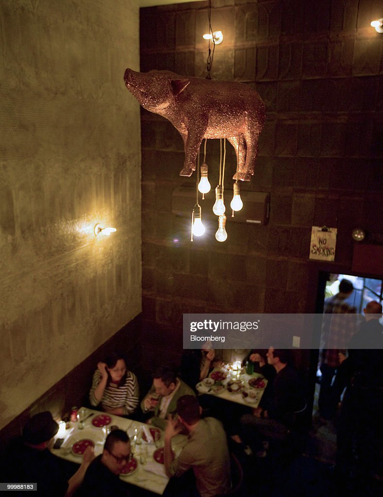Fatty cues bbq is whole pig 12 a decorated pig chandelier hangs in the rear section of fatty cue in the brooklyn arubaitofo Choice Image