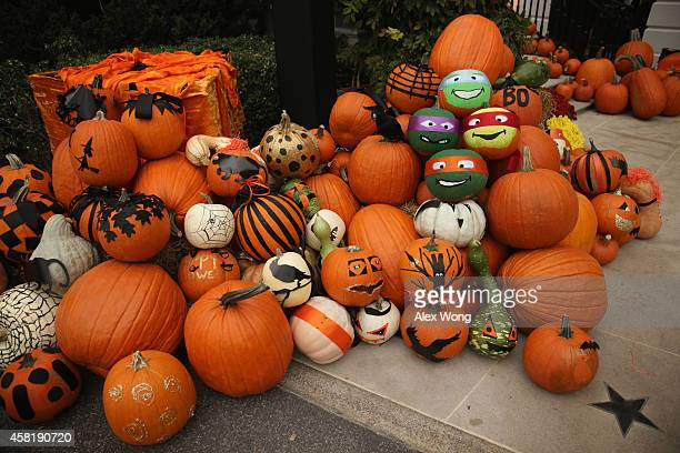 Decorated pumpkins are placed on the South Portico for a Halloween event at the White House October 31 2014 in Washington DC President Barack Obama...