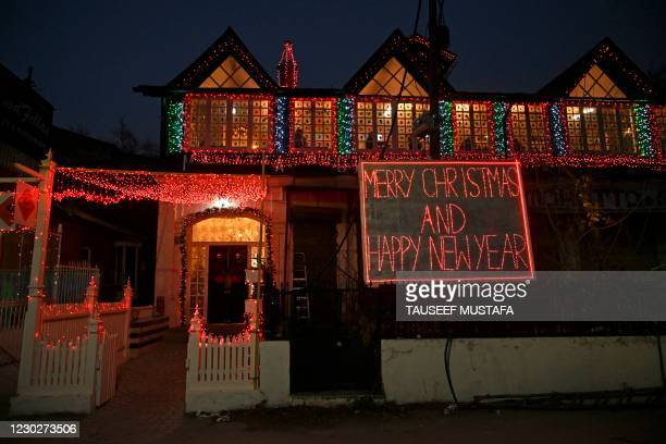 Decorated restaurant is pictured ahead of the Christmas celebrations in Srinagar on December 23, 2020.