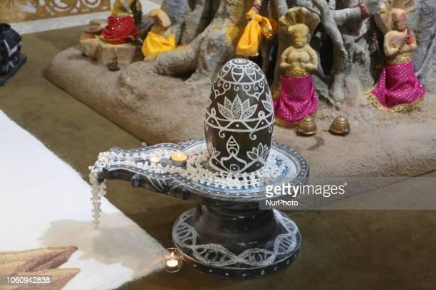 Decorated Shiva Lingam at a Hindu temple during Diwali in Toronto, Ontario, Canada.