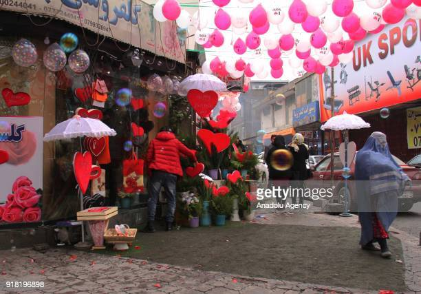 A decorated souvenir shop is seen on Valentine's Day in Kabul Afghanistan on February 14 2018