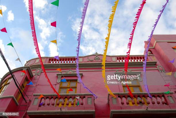 decorated street on a local festival, gran canaria, spain - las palmas de gran canaria stock pictures, royalty-free photos & images