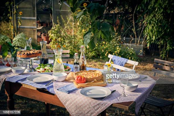 Decorated table in garden