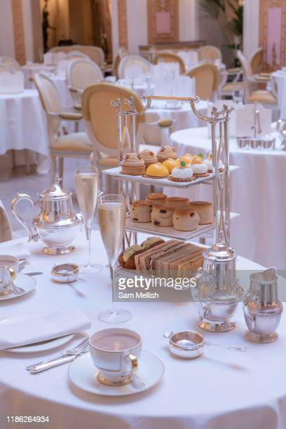 A decorated table set for afternoon tea at Palm Court at The Ritz on the 4th October 2019 in London in the United Kingdom Palm Court is a...