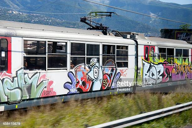 decorated train - train graffiti stock photos and pictures