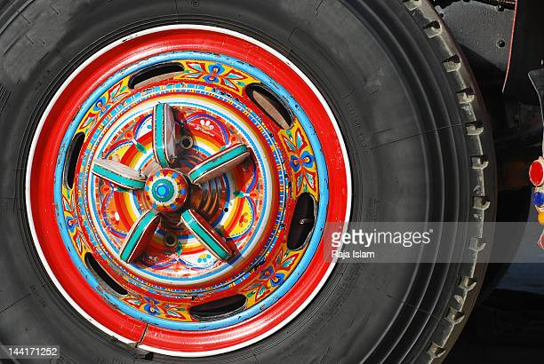 Decorated tyre of truck