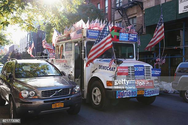 A decorated van for Democrat Carmen De La Rosa who is running for the 72nd Assembly District passes by at Oberia D Dempsey MultiService Center in...