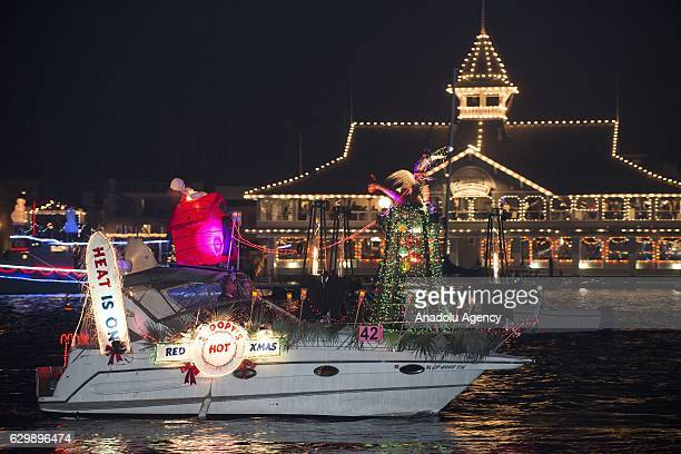 A decorated vessel from luxury yachts to kayaks sailing is seen at the Newport Beach harbor's channels during the 108th annual Newport Beach...