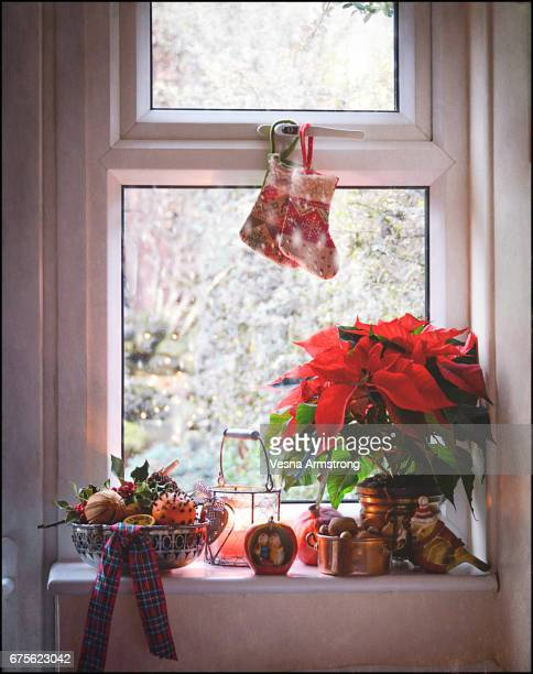 decorated window at christmas - christmas star stock photos and pictures