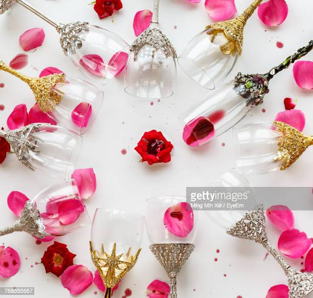 Decorated Wineglasses With Petals On Wedding Ceremony