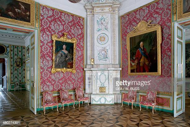 Decorated wood stove in a room in Seremetev Palace 176977 designed by Karl Blank Kuskovo residence near Moscow Russia