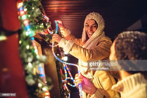 Decorar patio de Navidad