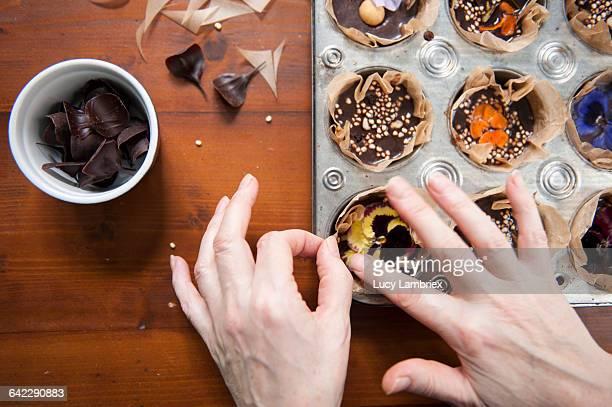 Decorating home made vegan chocolates