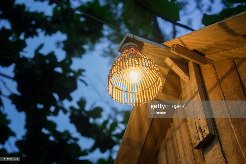 Decorating lantern hanging on wooden bar, : Stock Photo