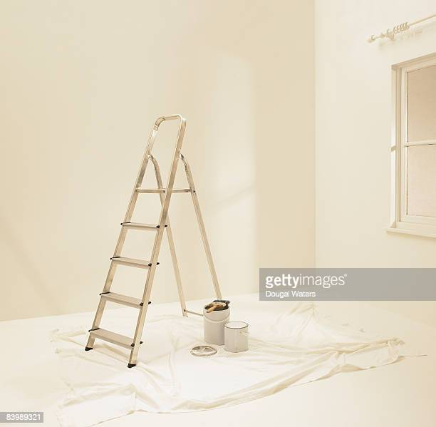 decorating tools in empty room. - step ladder stock photos and pictures