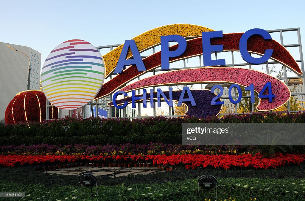Decoration Flowers For APEC Summit In Beijing : News Photo