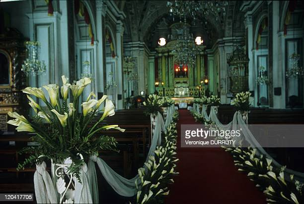 Decoration for a wedding ceremony in San Agustin catholic church Intramuros in Manila Philippines