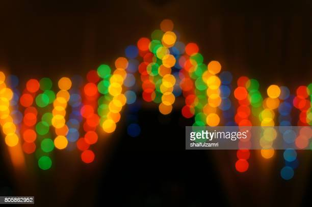 Decoration lamps in blur or bokeh hanging on the door with dark night as background