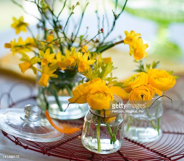 Decoration made from yellow floers on table