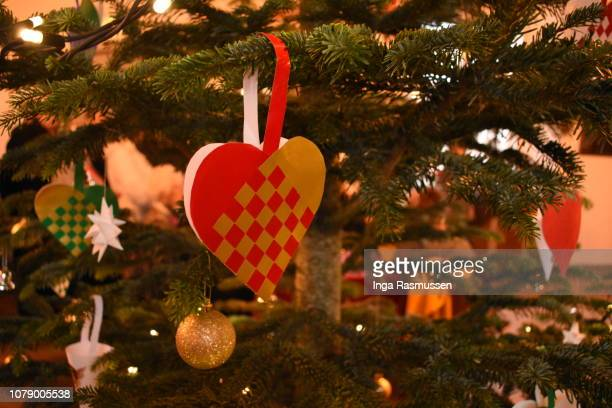 decoration of a danish christmas tree, denmark - danish culture stock pictures, royalty-free photos & images