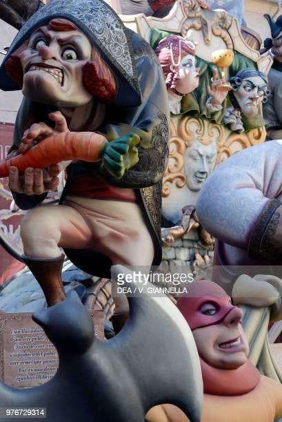 Decoration of a Falla papiermache and wooden sculpture Fallas festival Valencia Spain