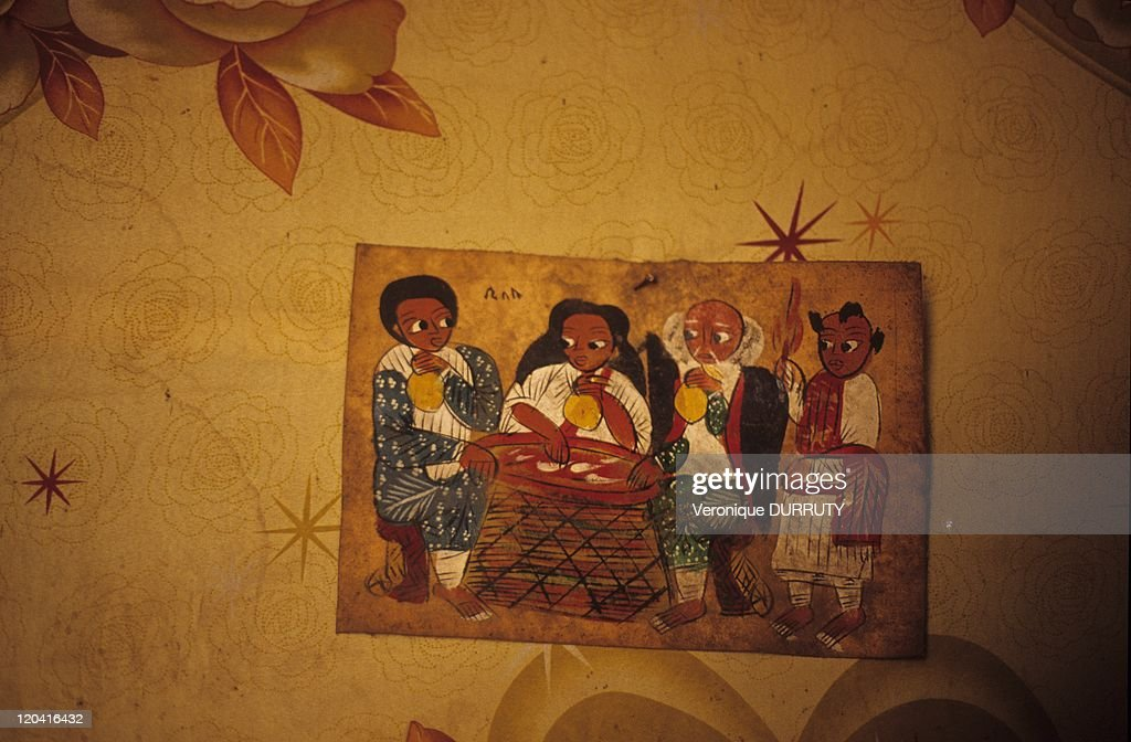 Decoration Of A Restaurant Near Debarq Ethiopia Painted In A