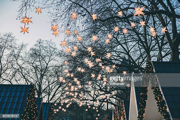 Decoration of paper stars on trees over roofs of the Christmas Market during dusk