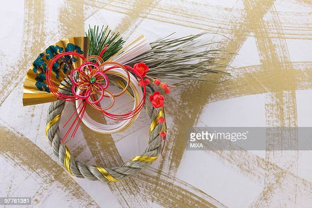 decoration of straw rope for new year - dia de ano novo imagens e fotografias de stock