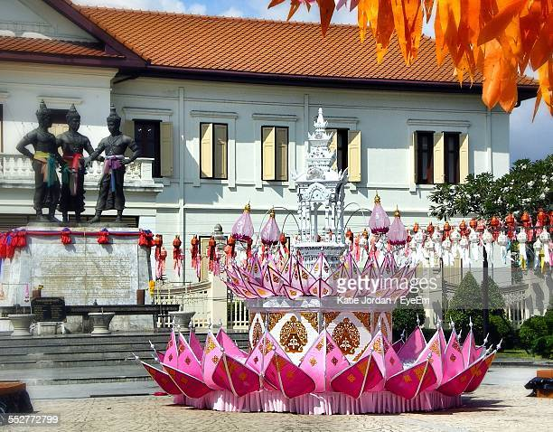 decoration outside temple during loi krathong - loi krathong stock photos and pictures