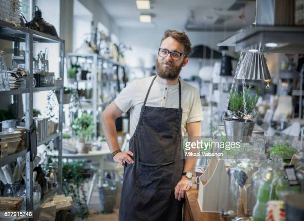 decoration shop owner with apron