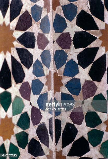 Decoration with azulejo tiles in the rest room of the Royal baths Alhambra Granada Andalucia Spain 14th century