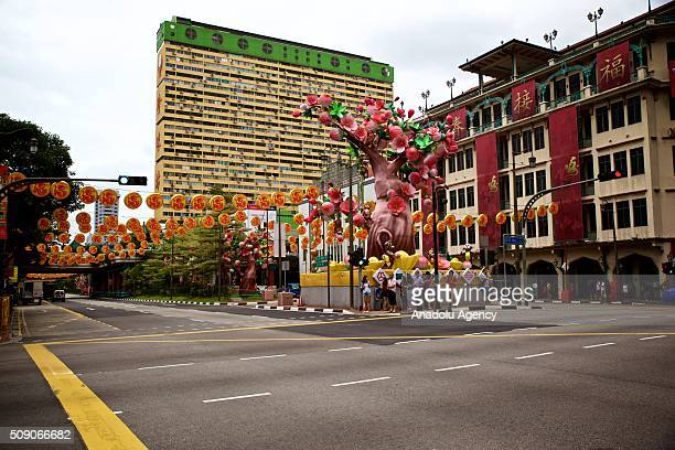 Decorations are seen on the day of Chinese New Year Monkey at the Buddhist temple in Chinatown Singapore on February 8 2016