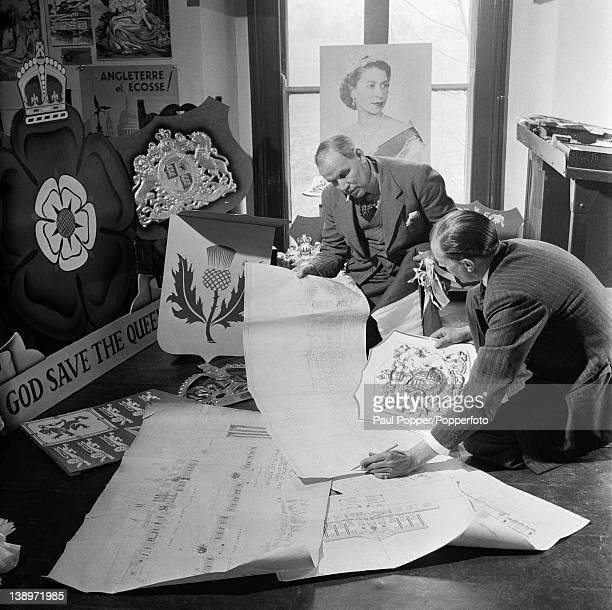 Decorations being prepared for the Coronation of Queen Elizabeth II at Art In Industry Fladbury Mill Worcestershire 1953 B S Goldbey discusses the...