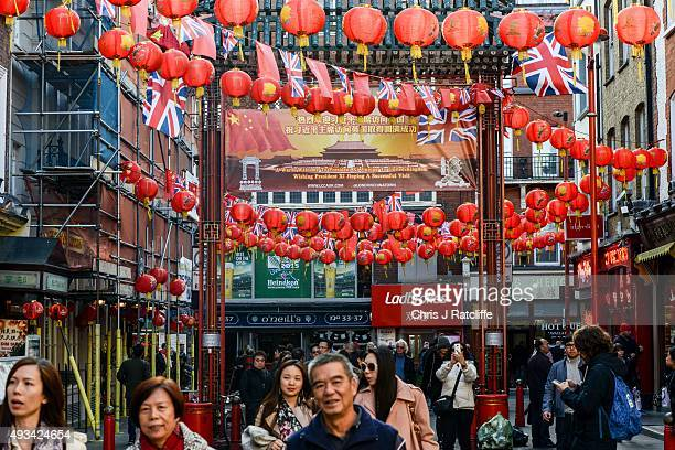 Decorations for the Chinese President hang in Chinatown on October 20 2015 in London England The President of the People's Republic of China and his...